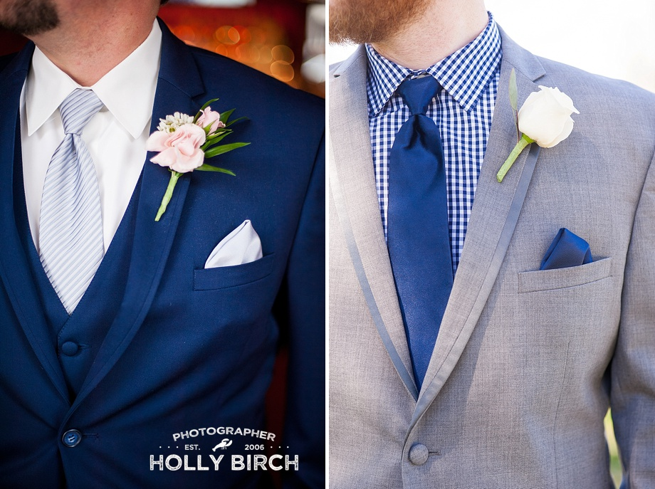 gray and navy wedding suits with blush boutonneires