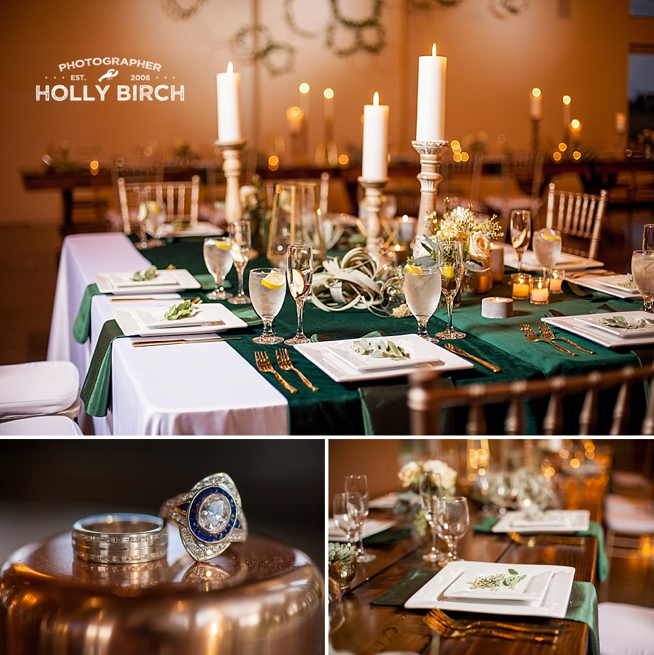 green gold and copper wedding place settings