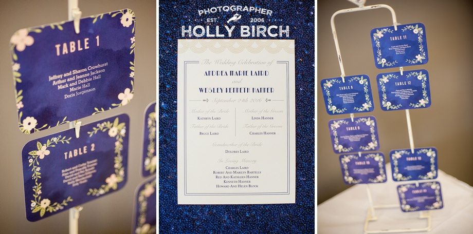navy floral and blush place cards and seating arrangements