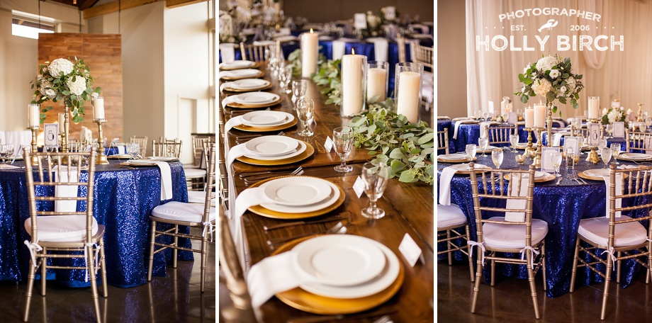 gold charger plates with navy sequin tablecloths gold chivari chairs