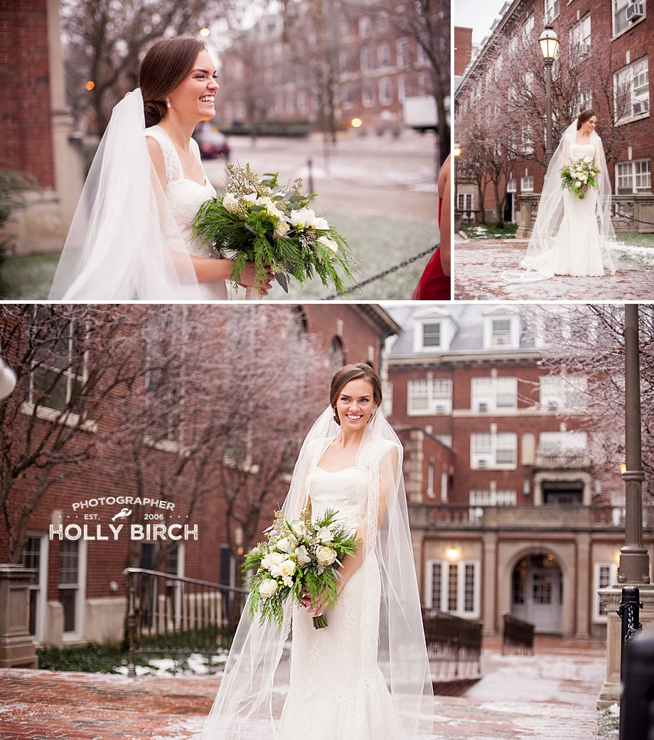 bridal portraits with ice frosted trees