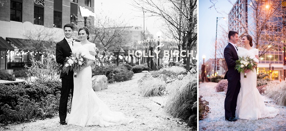 bride and groom portraits in snowy downtown Champaign