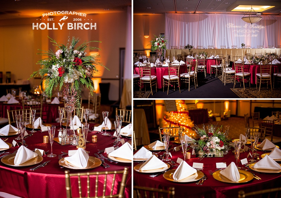 red and gold holiday wedding table setup
