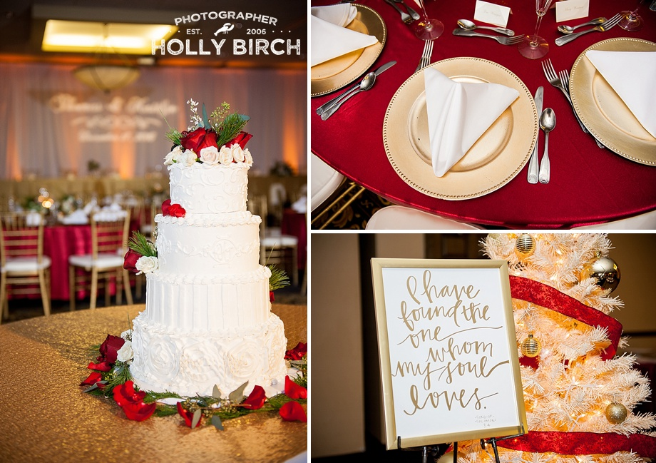 gold charger plates with wedding sign and cake
