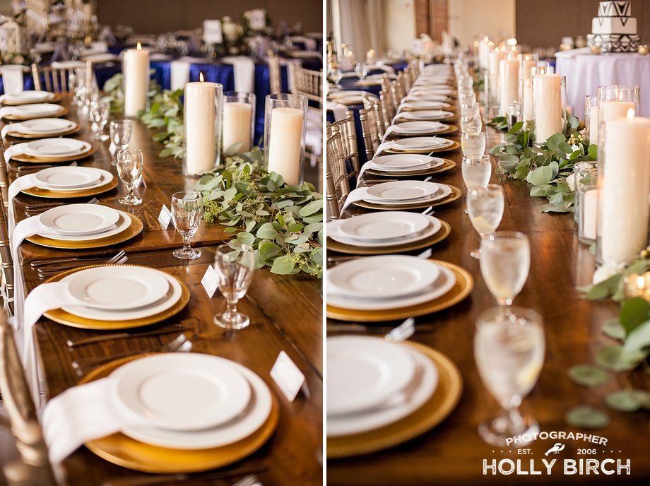 long head table with floral greenery gold charger plates