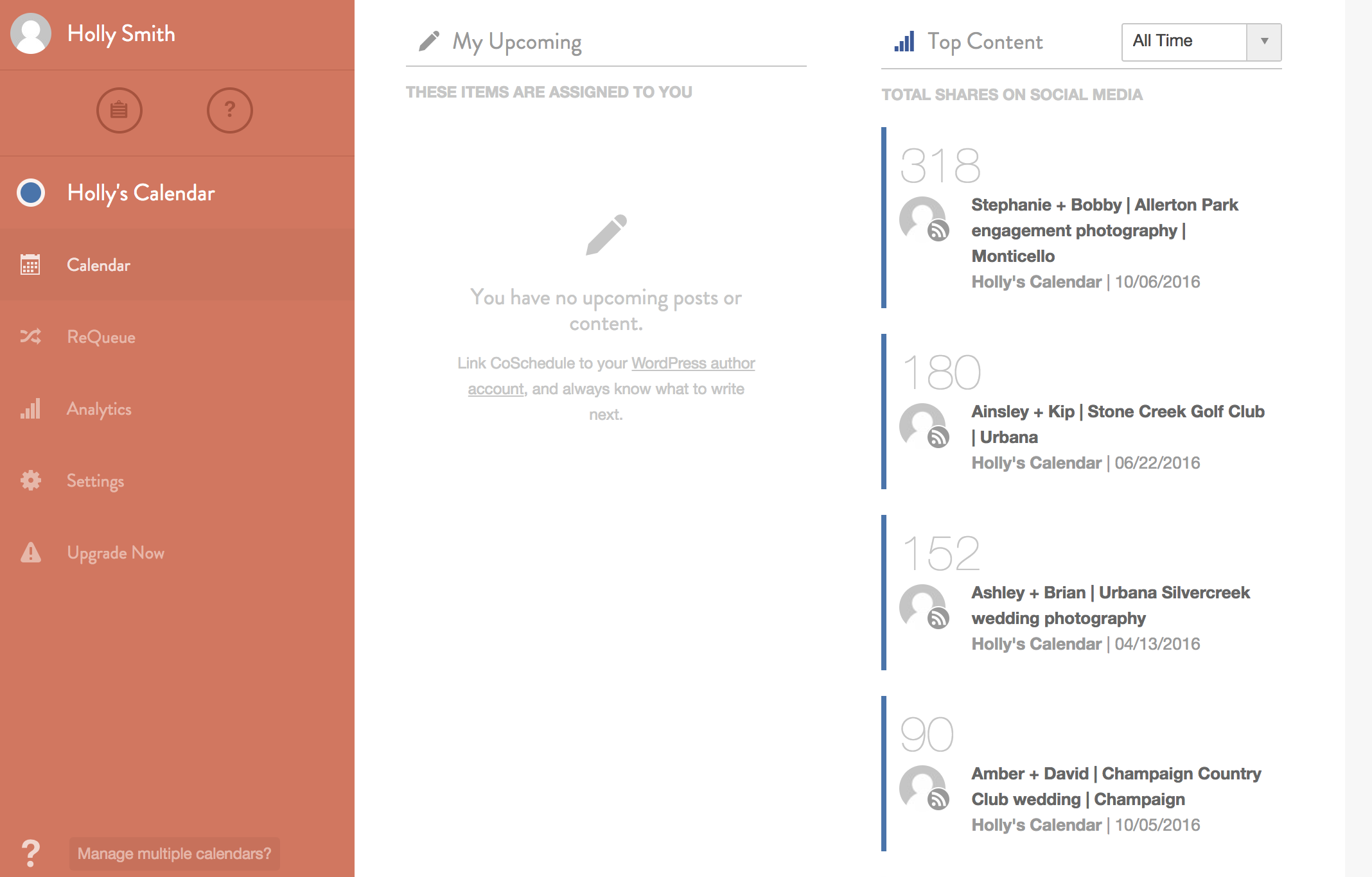 easily see social interactions through CoSchedule
