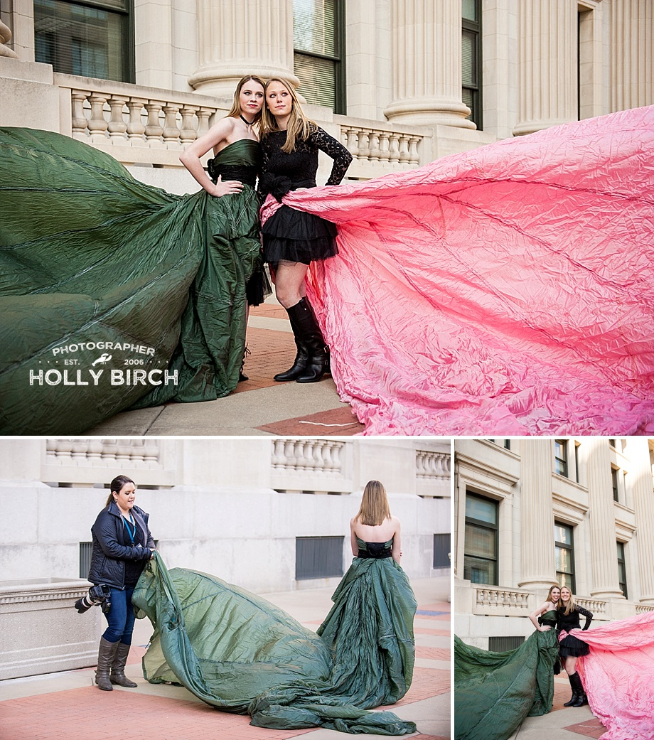 pink and green parachute dresses