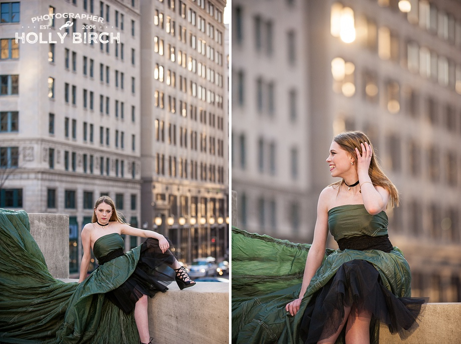 city girl senior session with skyline