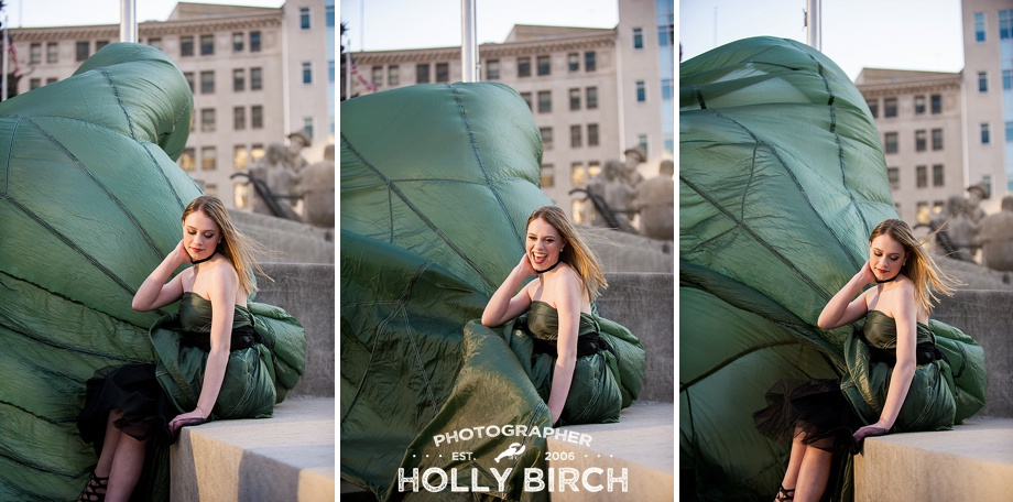 billowing parachute dress photo session
