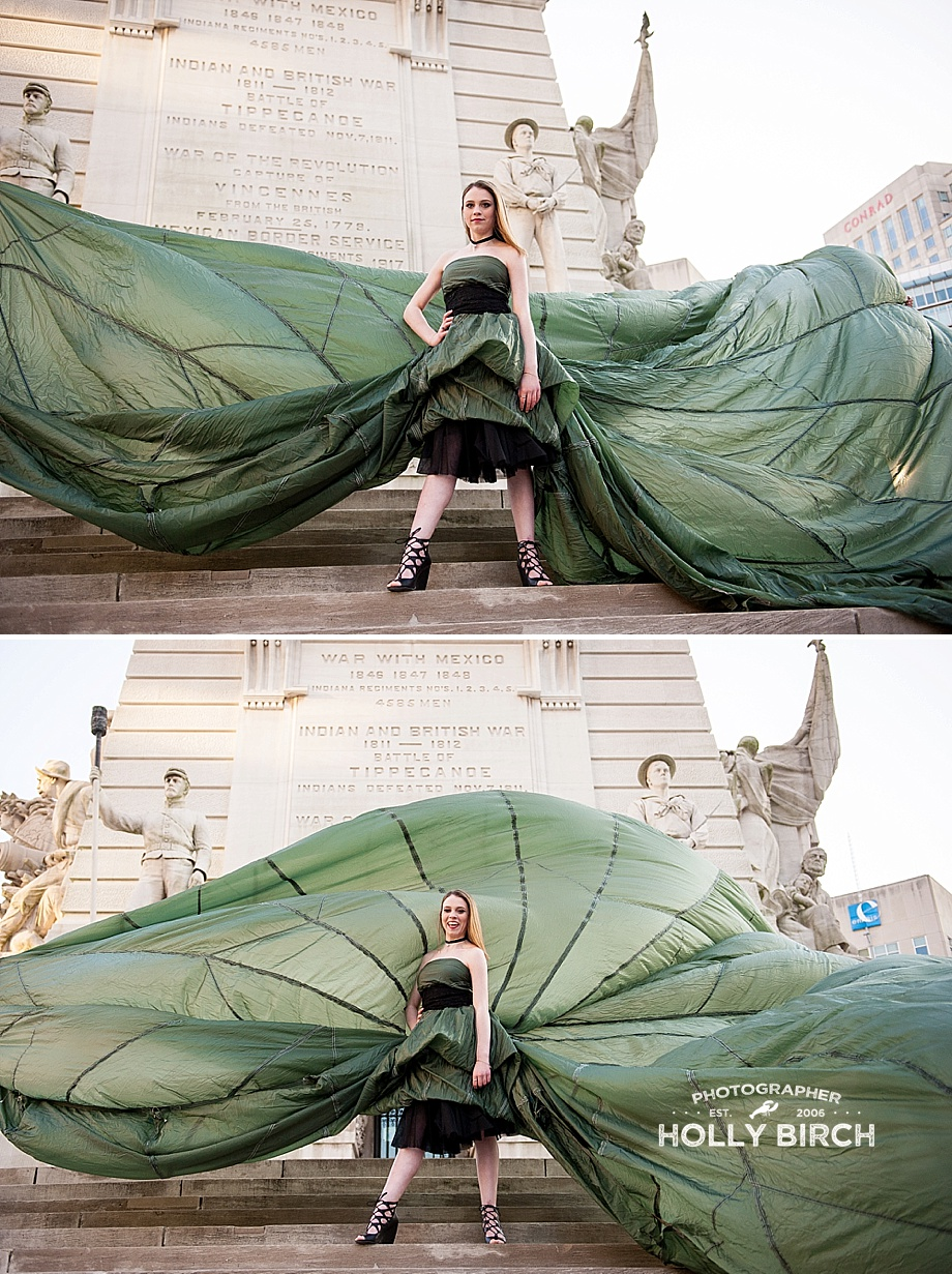 parachute dress senior session on monument steps