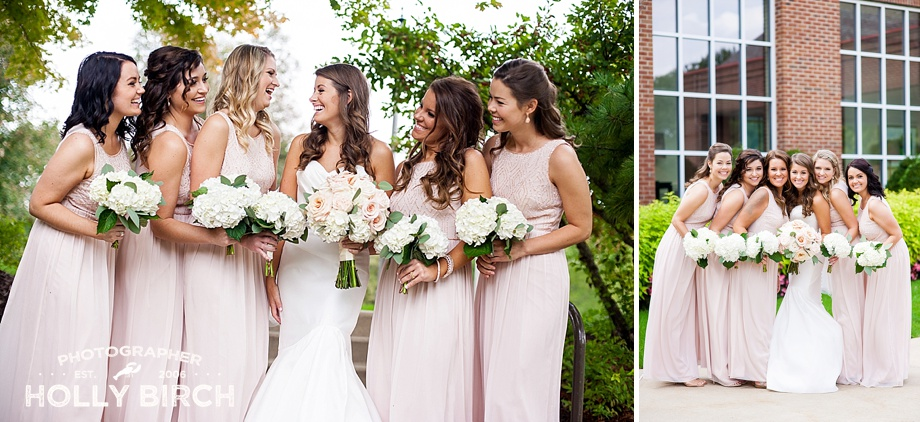 blush casual bridesmaids pose