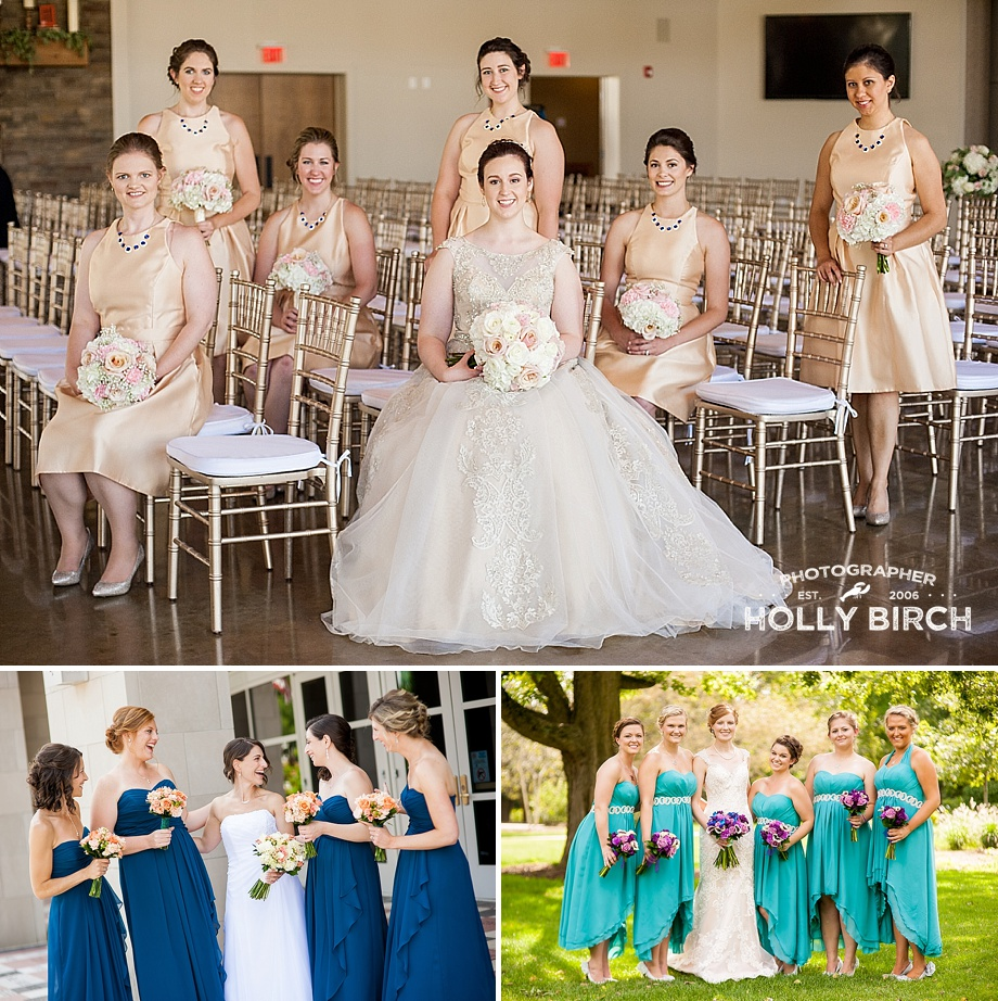 colorful bridesmaid sitting standing poses