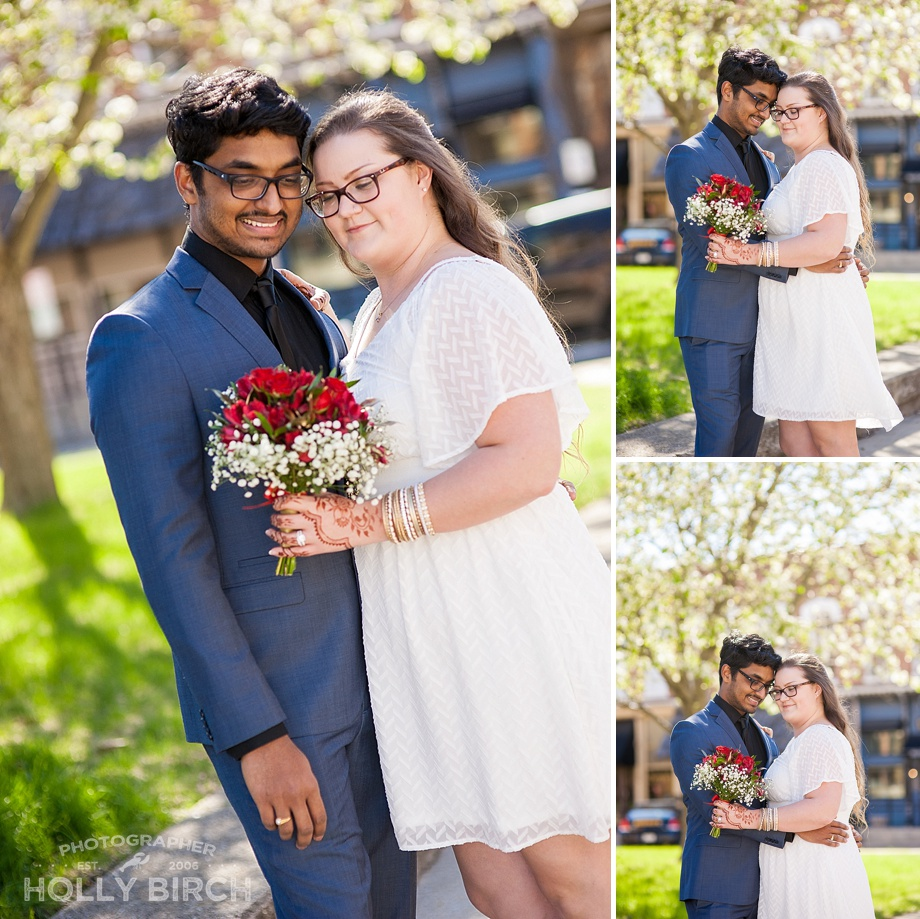 backlit sunny day wedding portraits