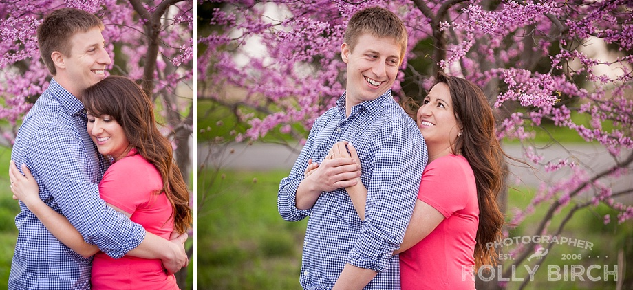 purple spring trees engagement