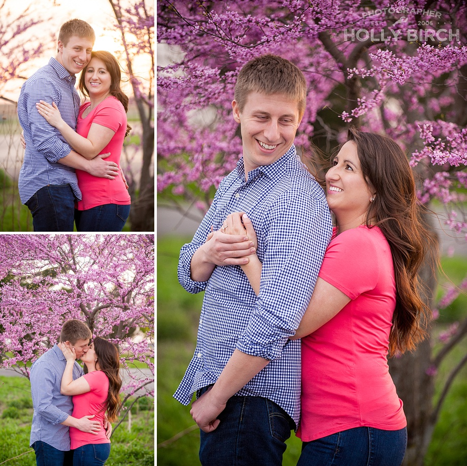 purple flowering trees engagement
