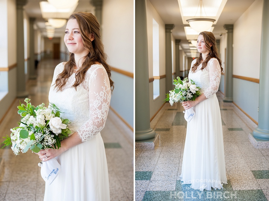 beautiful glowing bride in ivory