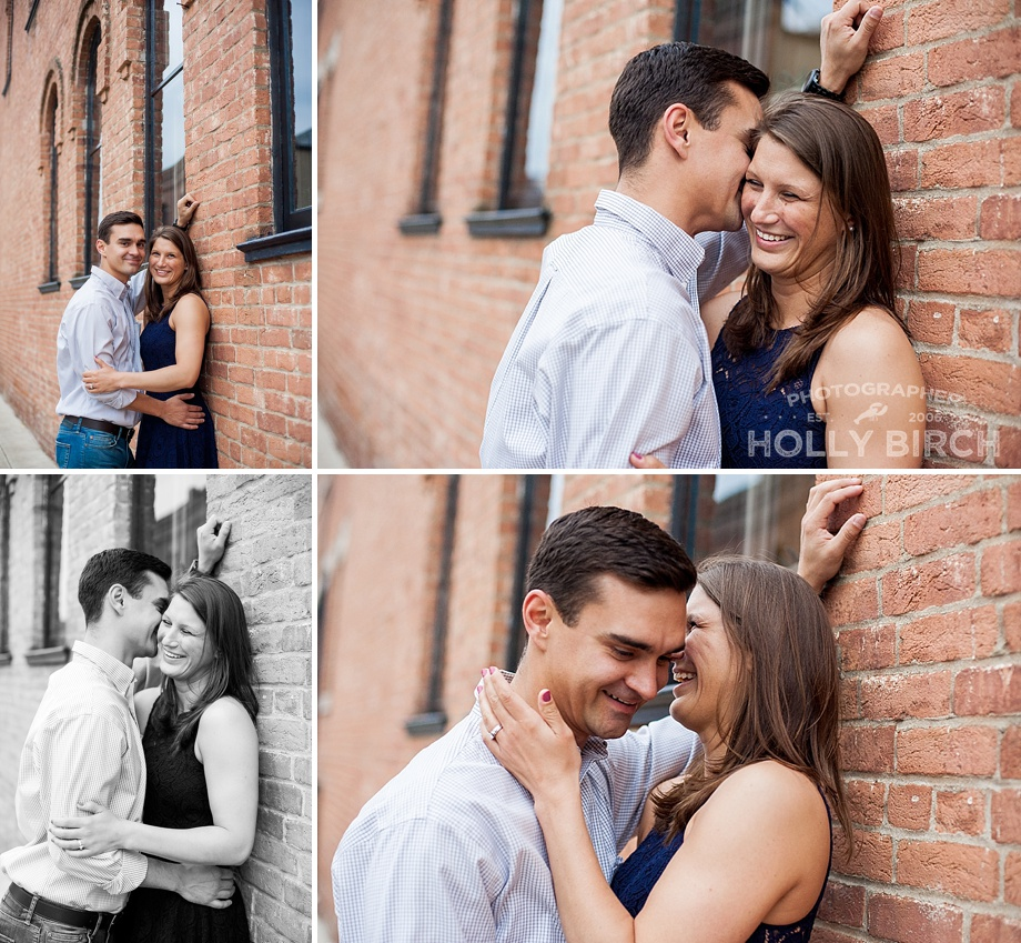 brick background engagement session