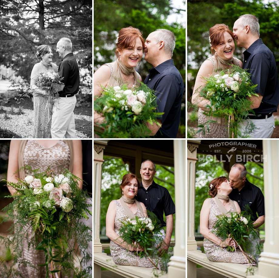 pictures of the new bride and groom on the porch