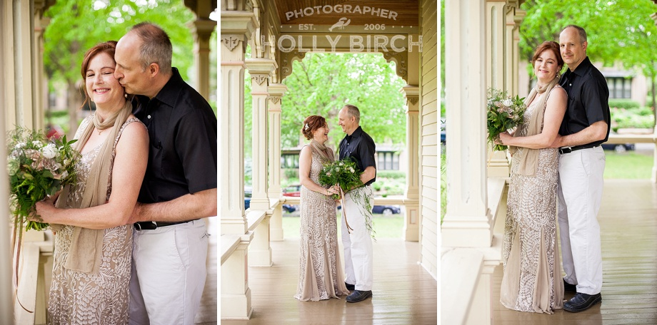 wedding couple photos on historic wraparound porch