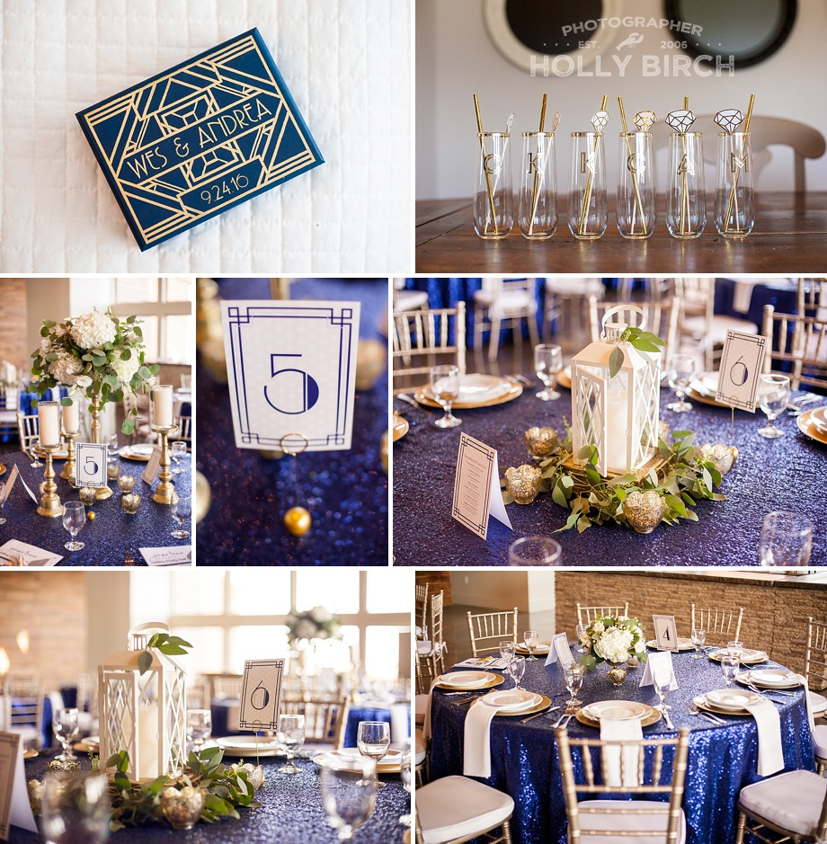 navy gold glam wedding details