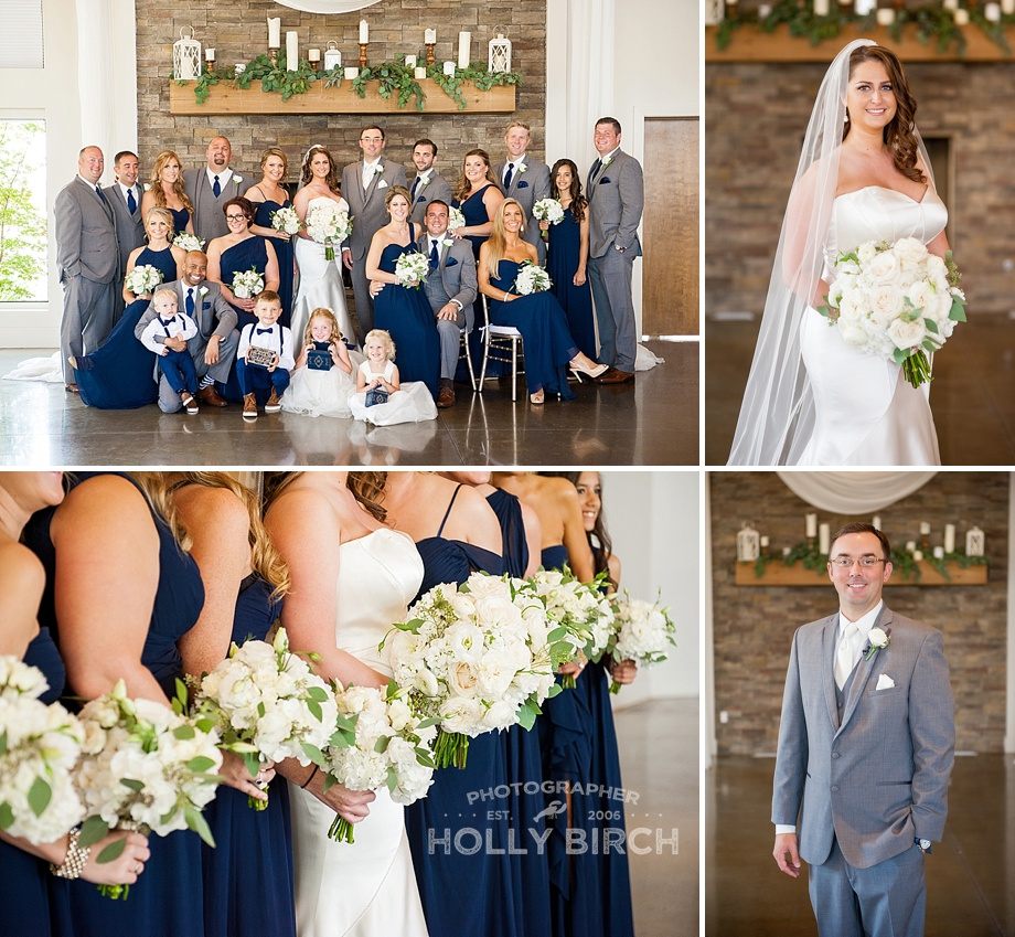 wedding party in navy and gray