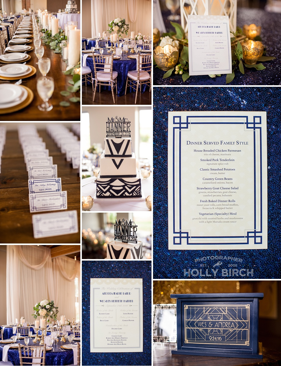 navy gold sparkling wedding details