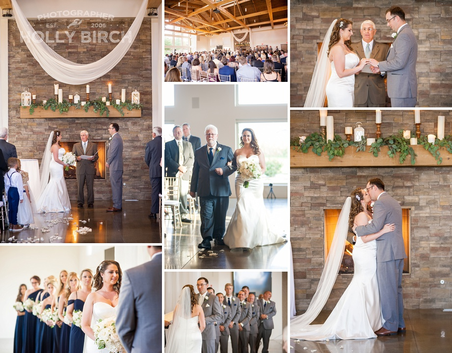 indoor wedding ceremony at Pear Tree Estate