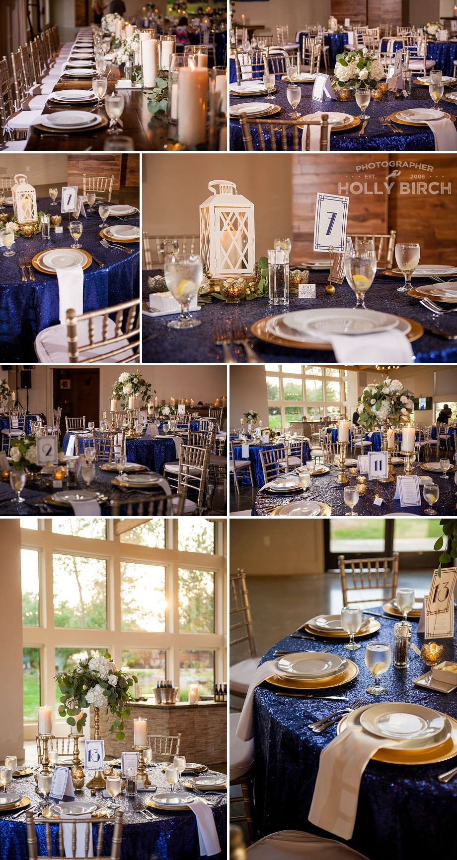 Navy gold glam Old Hollywood wedding reception