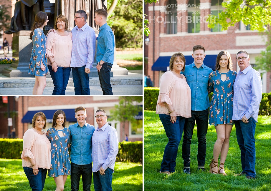 family pictures by the alma mater