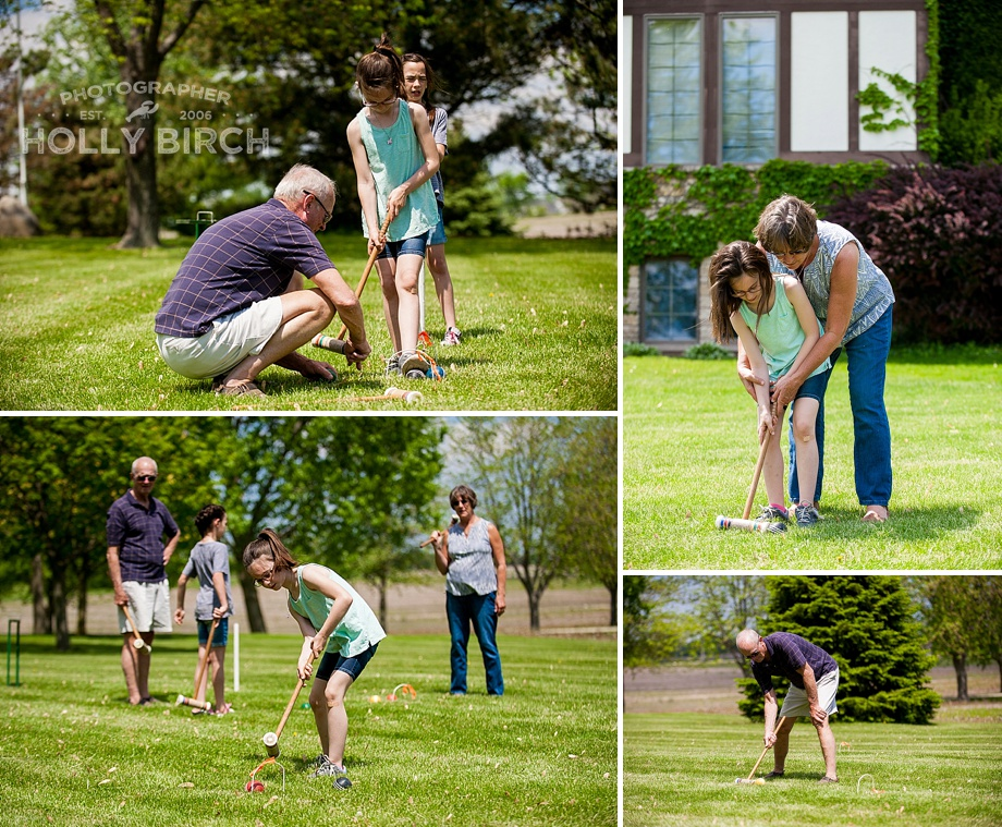 playing croquet in the front yard