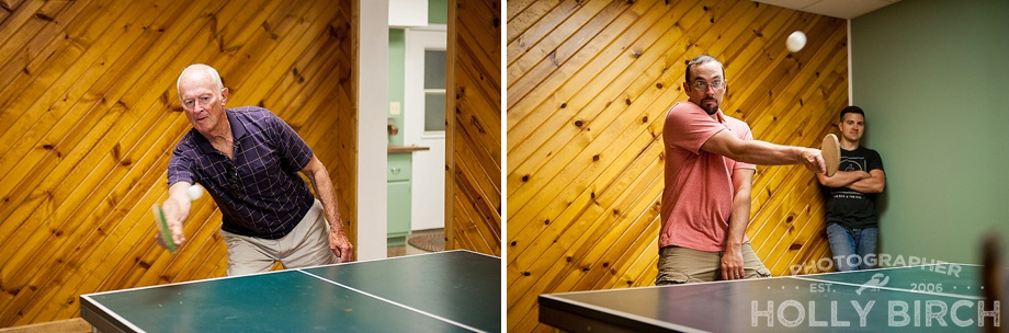 playing ping pong table tennis in the basement