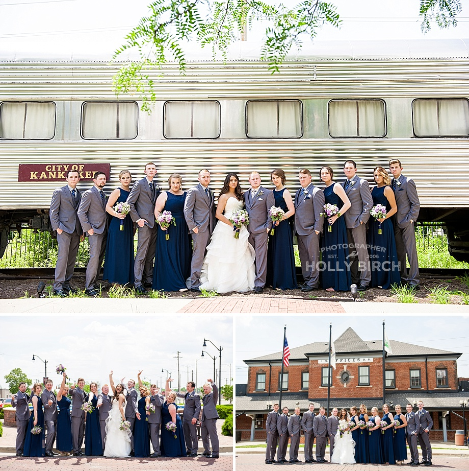 bridal party at train station