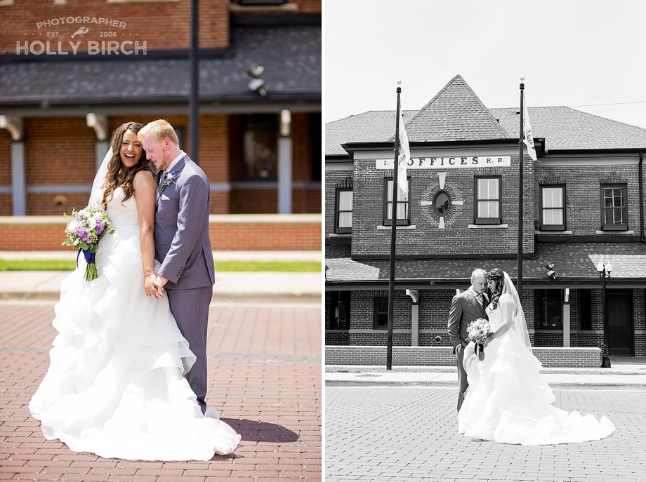 bridal portraits at historic train station