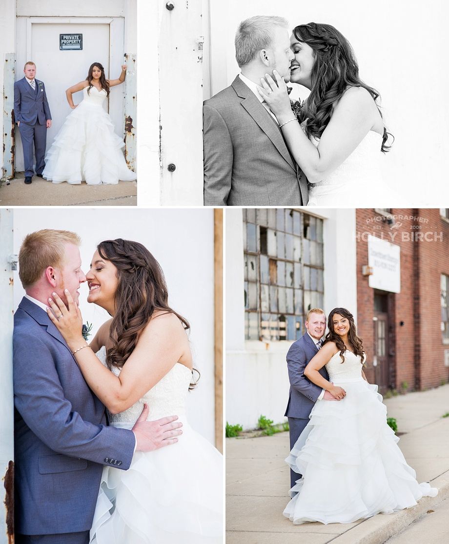 urban wedding photos in downtown Kankakee