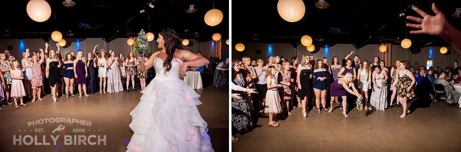 bouquet toss with off-camera flash