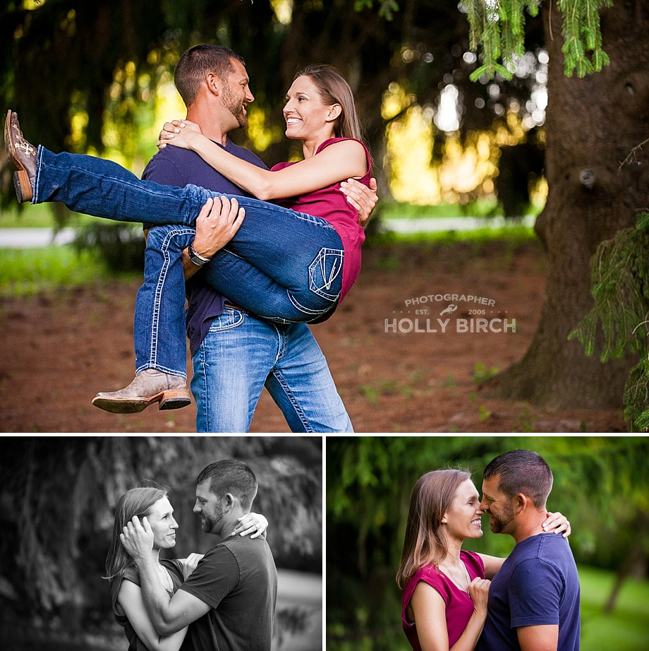 engagement photos with tree cover