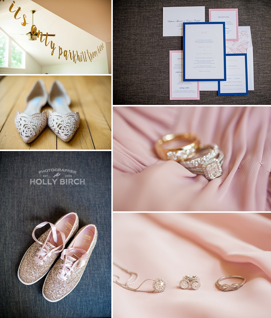 blush gold wedding shoes and details