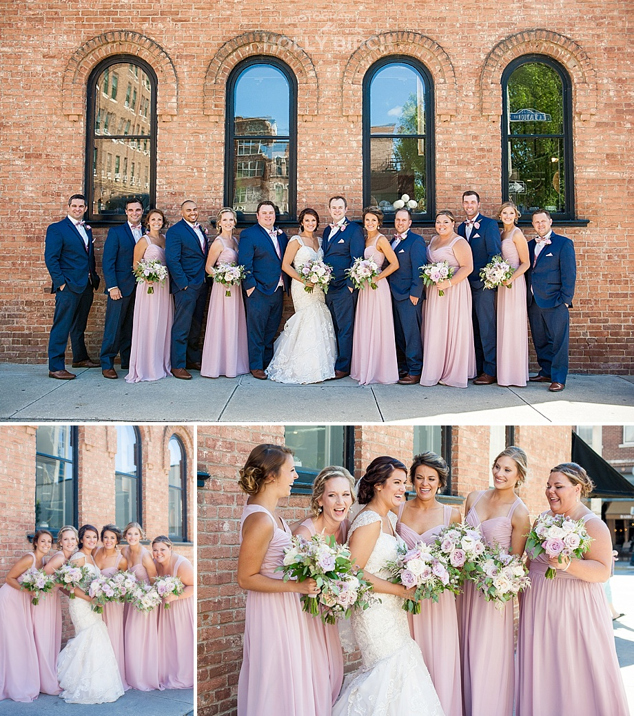 navy and blush wedding party downtown