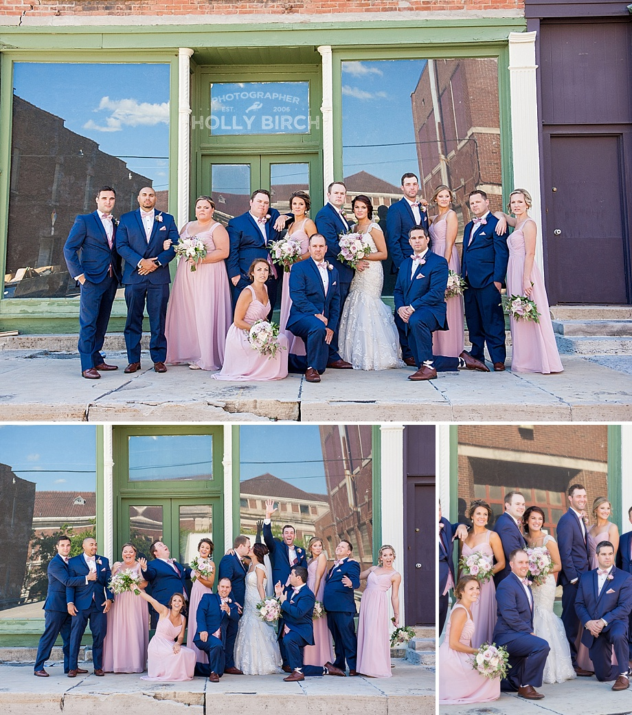 fun wedding party photos in alleyway