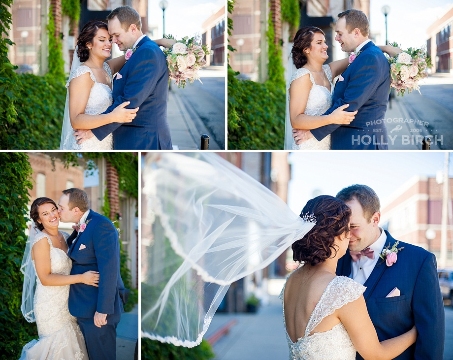 downtown couple photos with veil