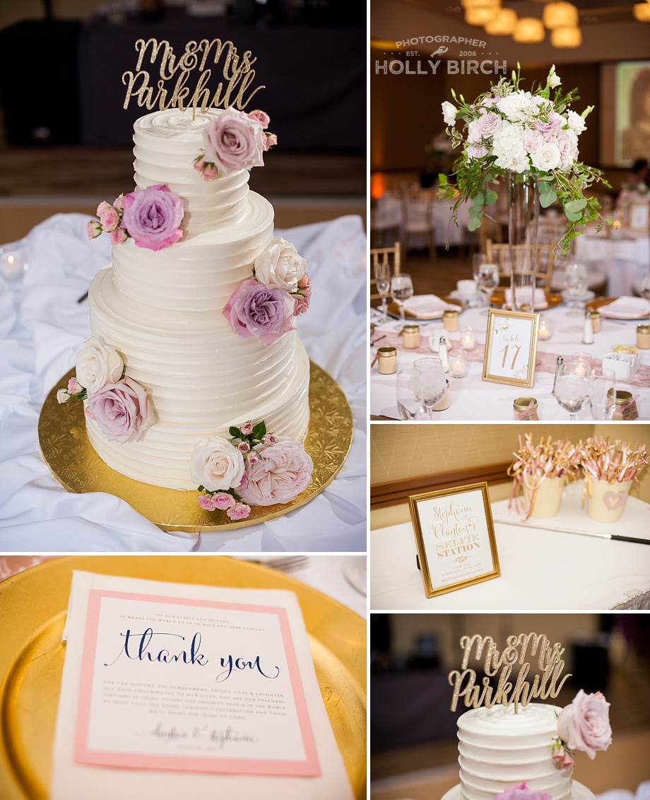 blush gold reception decor details