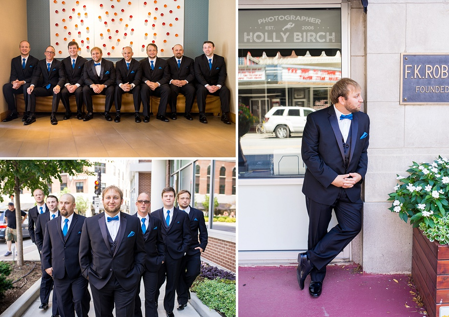 groom and groomsmen in urban downtown setting