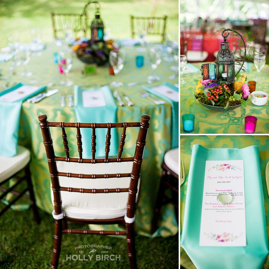 green teal colorful wedding reception decoration