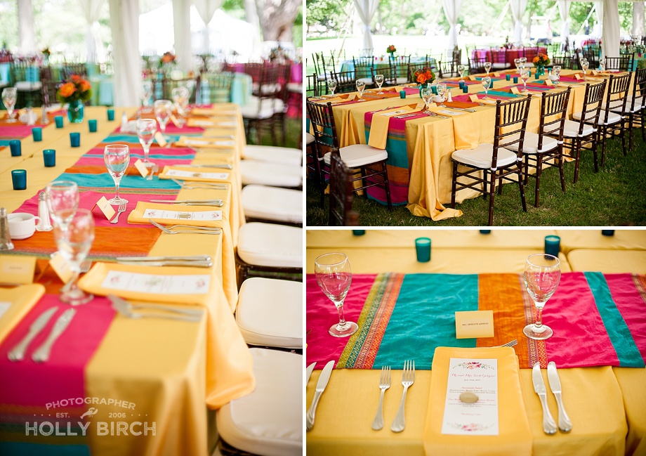 yellow head table at colorful Moroccan inspired garden wedding