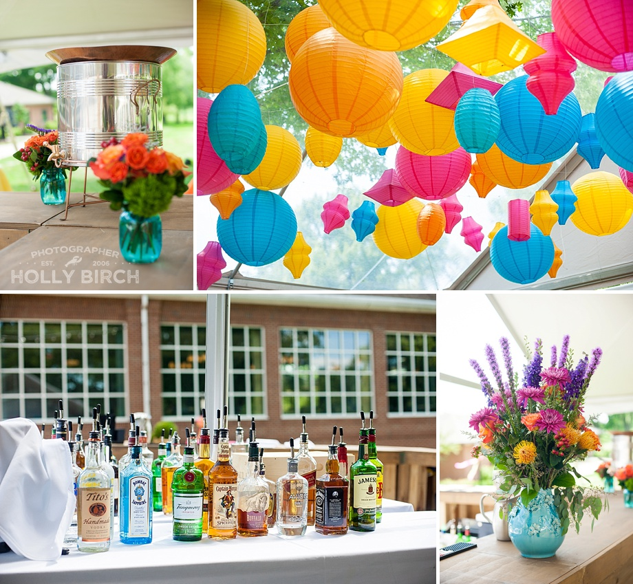 colorful paper lanterns on dance floor and bar