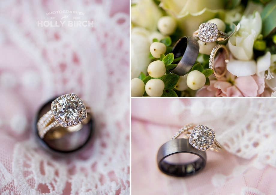 blush pink and lace wedding ring photos