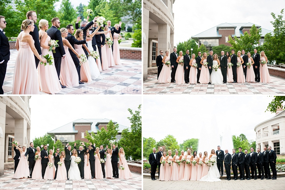 blush pink and black wedding party