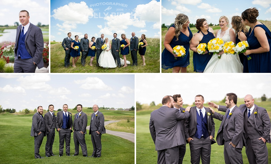 navy yellow and gray wedding party