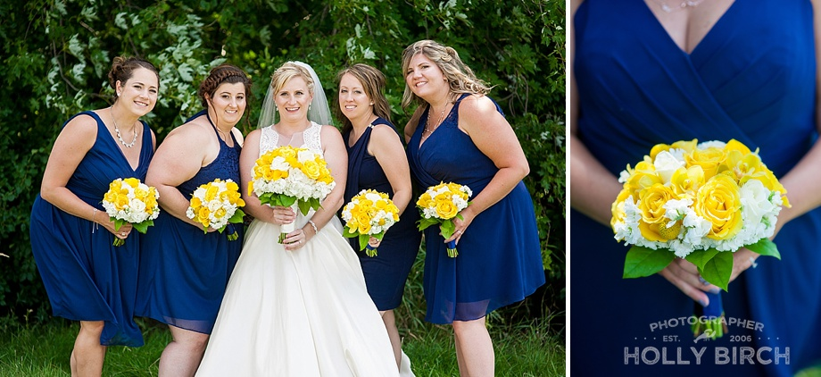 navy and yellow bridesmaids