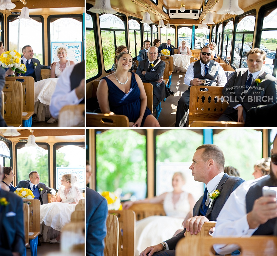 wedding party candids on the trolley ride